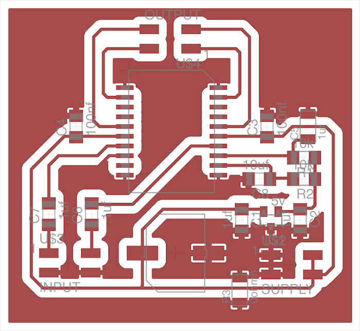 The amplifier board traces and design
