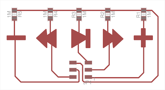 The trace layout for the controller board