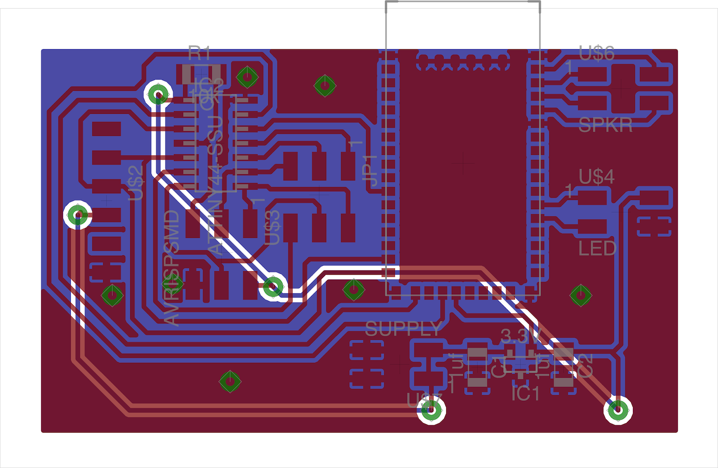 the traces for the FabBlaster main board