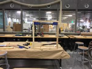 Window frame completed, holding the aluminum frame