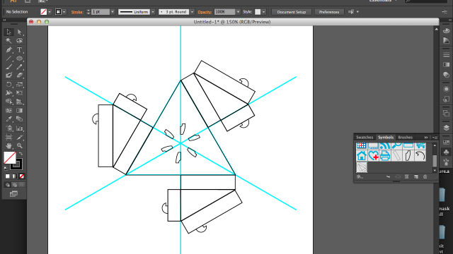 My familiar friend, Illustrator. I decided to learn something new and use symbols to replication shapes and have them update instantly. This is about as parametric as Illustrator gets.