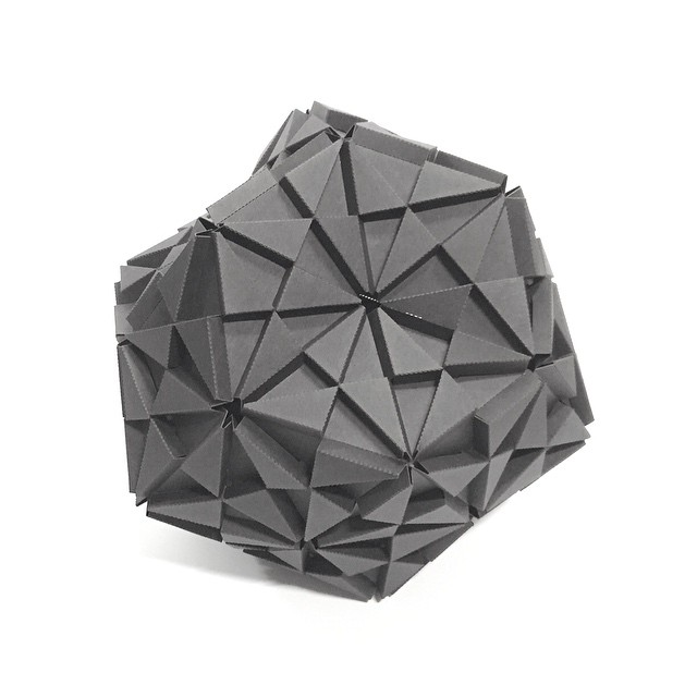To make a dodecahedron, I used 5 troxes to create pentagon sides, then put together 12 of those to create this 60 sided polyhedron.