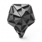 Icosahedron perched atop a tetrahedron.
