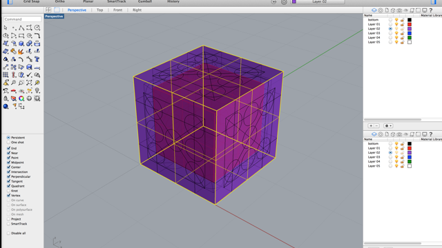 Started with sketching sides and their hole arrangements. Then built a simple hollow cube from the sides.