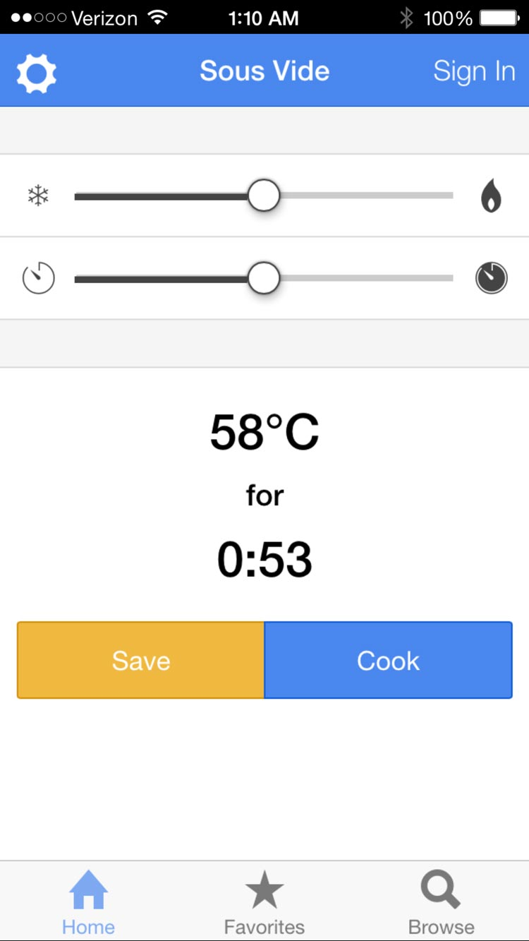 The home screen of the app. The user can set a target temperature and duration of a recipe.