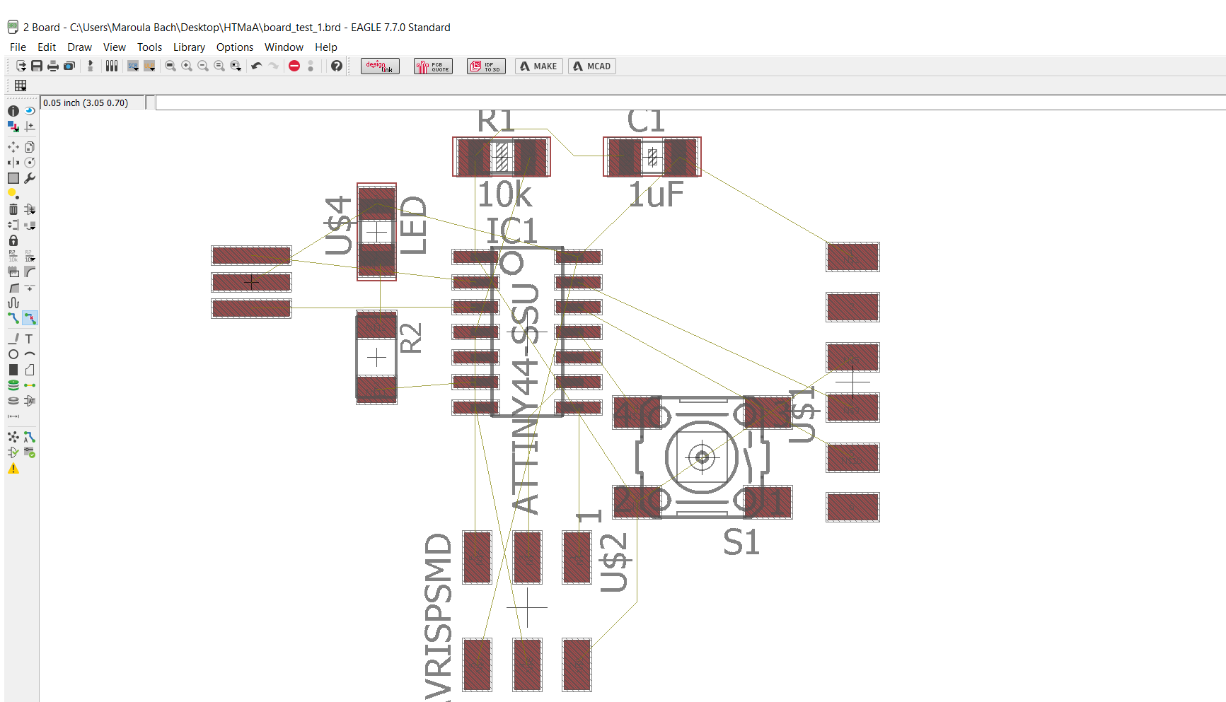 Maroula Bacharidou Figure 2 Schematic View In Eagle Pcb Software Importing And Connecting The Parts According To Sketch