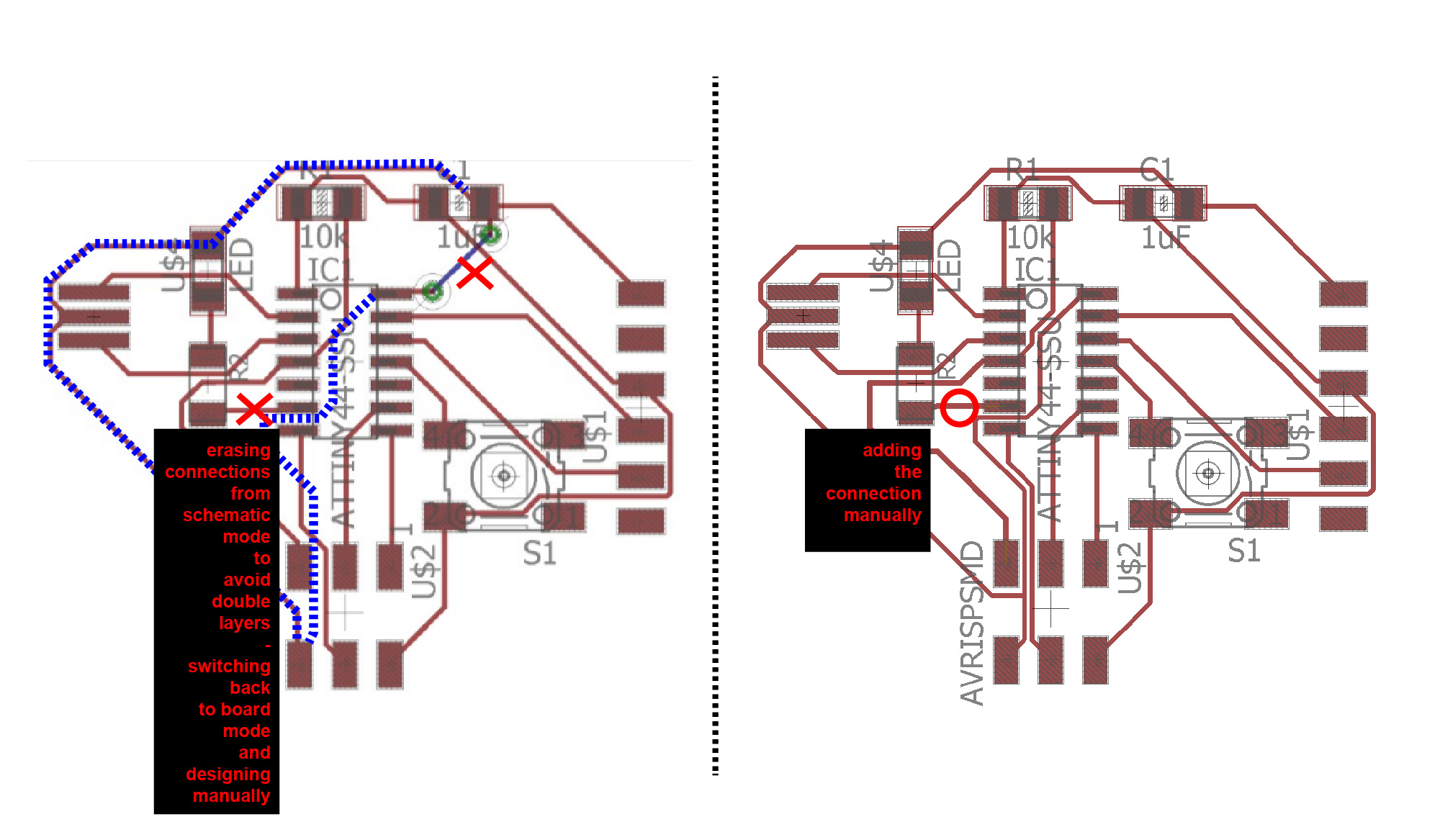 Maroula Bacharidou Figure 2 Schematic View In Eagle Pcb Software 3 Adding The Led And Button Moving Parts Apart Rotating Them Board Mode